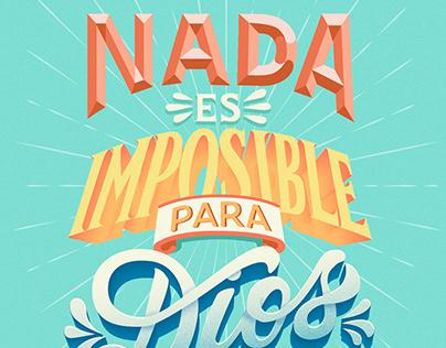 """""""Nada es imposible para Dios"""" Lettering poster"""