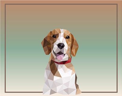 Dog beagle. Design in polygonal style.