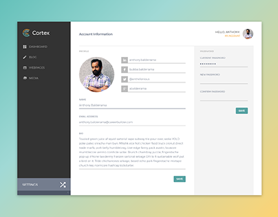 Cortex CMS Interface