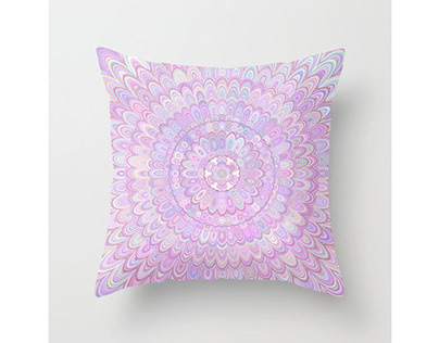 Summer Feather Flower Mandala Throw Pillow