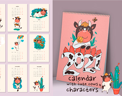 Calendar for 2021 with cute cow characters.