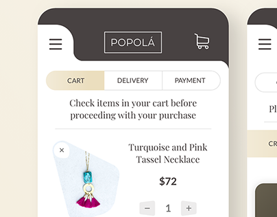 Checkout UI Design for Popola Jewelry
