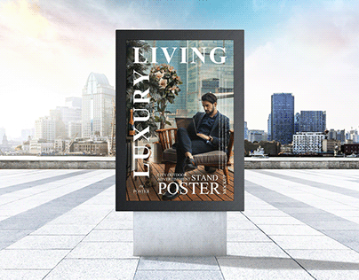 Outdoor Advertisement Stand Poster Mockup Free