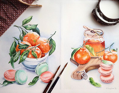 Watercolor still life.Diptych