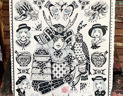 Samurai girl flash set hand drawing