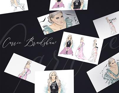 Carrie Bradshaw - Fashion Illustrations Set