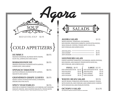"""Agora"" Turkish Restaurant Main Menu"