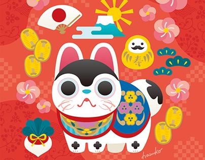 Inuhariko (papier-mache dogs) 犬張子