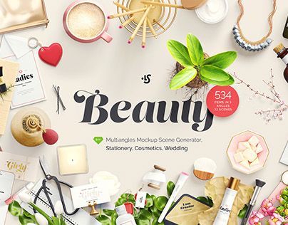 Beauty: Stationery, Cosmetics, Wedding, mockups