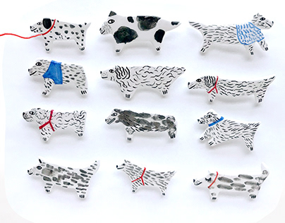 domaMi doggies - handmade broches
