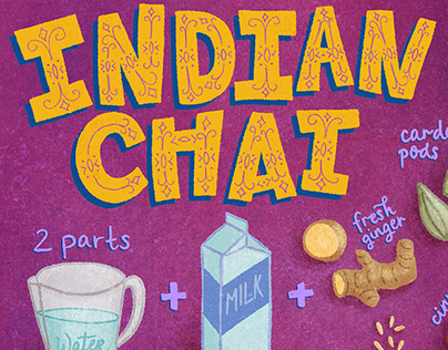Indian Chai Illustrated Recipe Food Drawing