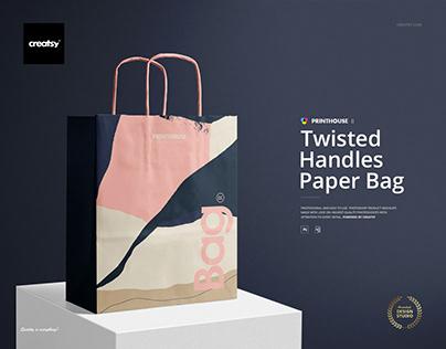 Twisted Handles Paper Bag Mockup Set