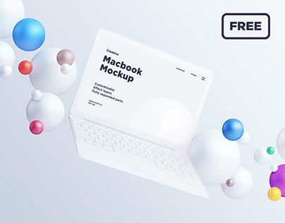 Macbook mockup with spheres