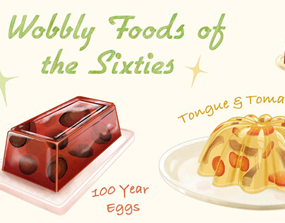 Retro food illustration: Jello molds