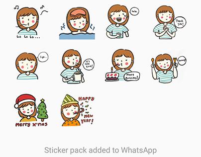Kawaii Girl Sticker Set for WhatsApp