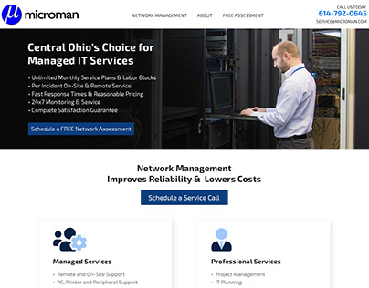 Microman - Landing Page Design And Development