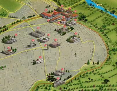Diyarbakır Historical Places Map Illustration