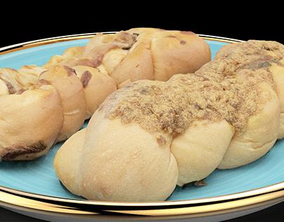 Mushroom Bacon & Rousong Pork Pretzel Bread