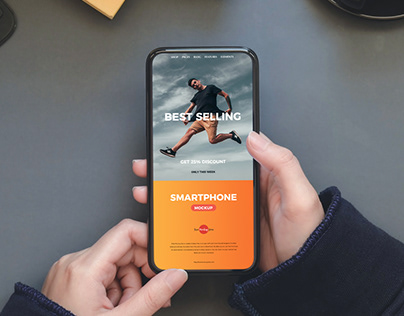 Free Person Holding Smartphone Mockup