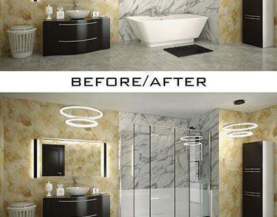 Visualisation 3D de 3 salles de bain avec bain / douche