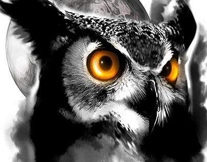 Owl and Tree Half Sleeve Tattoo Design