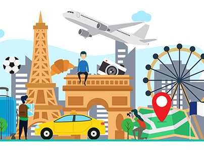 travel to frqance flat illustration