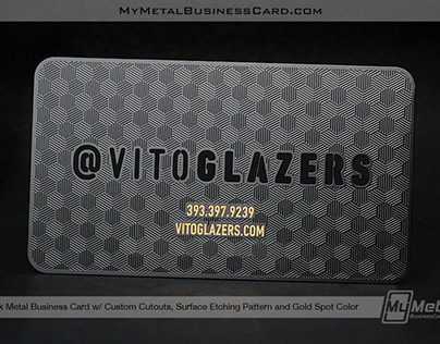 Black Metal Business Card with Etched Pattern & Cutouts