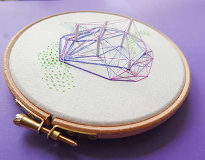 'Crystal' hand embroidered hoop