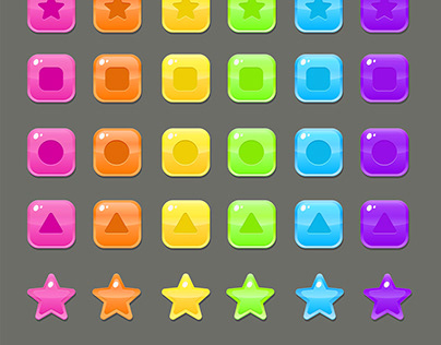 Colorful Buttons Set For Much 3 Games Vector Design