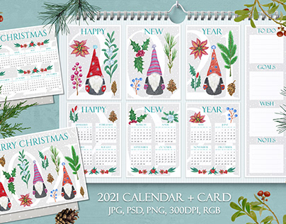 2021 calendar and card with gnomes and winter plants