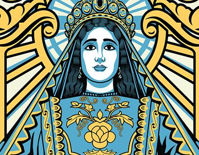 Maria Cleofas T shirt Design Illustration
