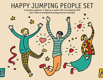 #free Jumping People Silhouettes Vectors illustration