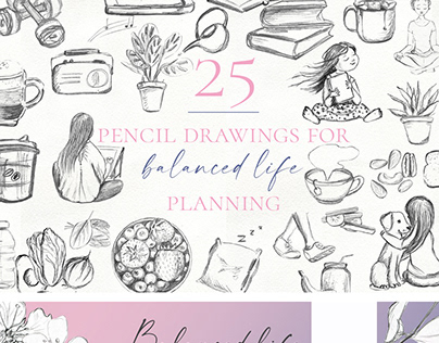 Pencil drawings for balanced life planning