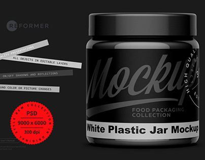 Black Plastic Jar Mockup
