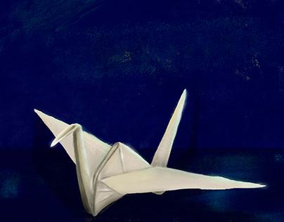 Oil Origami crane