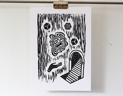 A Strange and Wonderful Place Linoprint