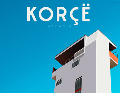 Korçë - Travel Poster of Albania