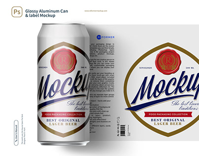 Glossy Aluminum Can & label Mockup