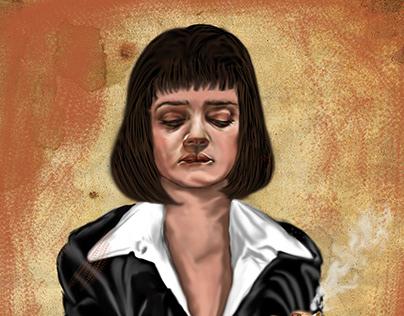 Mia Wallace Digital Painting Pulp fiction
