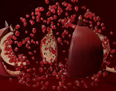 Pomegranate Fruit Explosion Animation