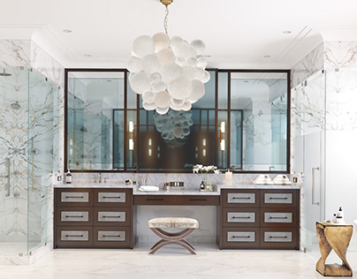 A wonderful master bathroom with marble and wood