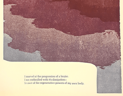 Bruise & Mesa, Reduction Relief Print, Letterpress Poem