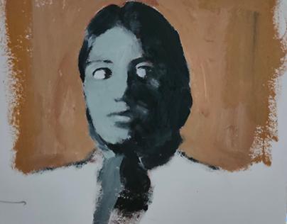 self portrait oil on paper
