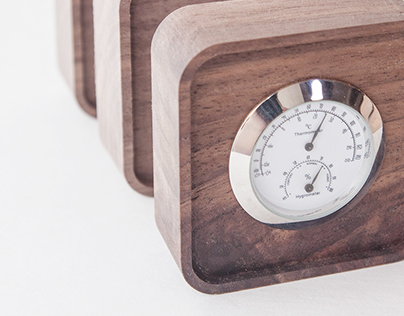 Wood Hygrometer & Thermometer