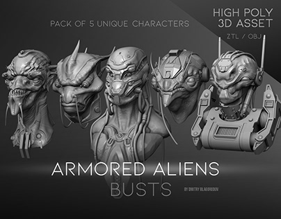 """""""Armored Aliens"""" busts"""