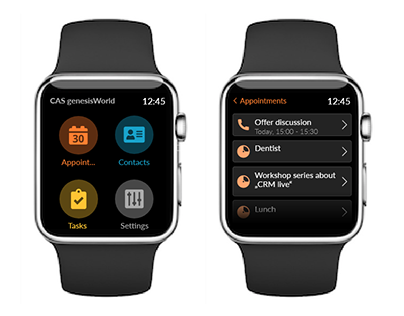 Smartwatch UI for a CRM system