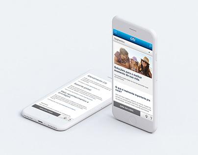 Diseño de Páginas internas de segmentos Citibank Brasil