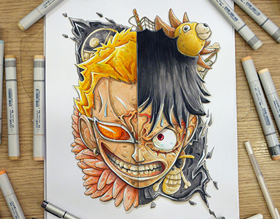 Doflamingo vs Luffy mashup : a One Piece Fan art