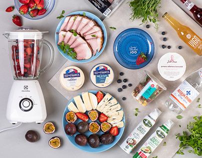 Grocery store food flatlay photography