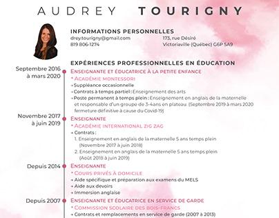 CV, suppléance et carte d'affaire | Audrey Tourigny
